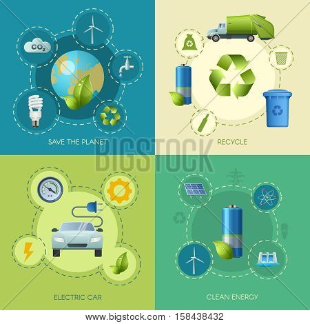 Four square ecology banners set with compositions of alternate power sources electromobiles batteries and recycling symbols vector illustration