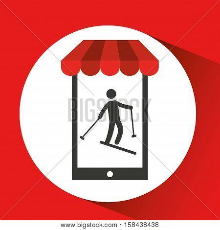 mobile phone silhouette sportman skiing vector illustration eps 10