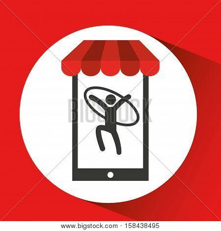 mobile phone silhouette sportman gymnastic ring vector illustration eps 10