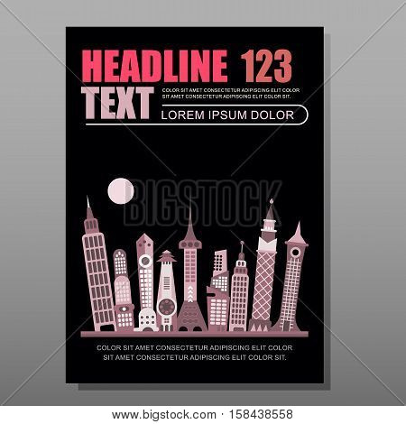 Modern cityscape vector illustration isolated on a black background. Multipurpose brochure flyer design layout template with place for text. Mock-up proportional size A4 front page.