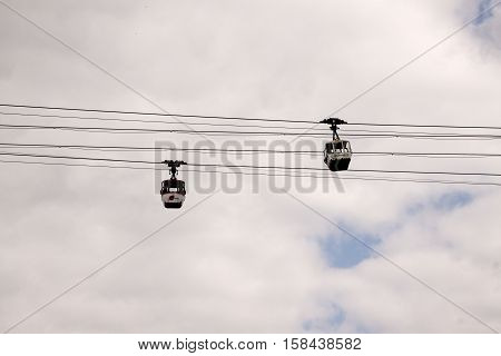 Cologne Germany-june 2016: mainly tourists use the old cable way over the river Rine