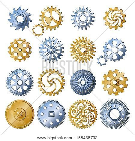 Sixteen isolated old style gear gold and silver mechanisms realistic symbols set on blank background vector illustrarion