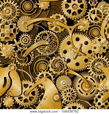 Golden gears of various size and decorative shape as a part of big mechanical engine vector illustration