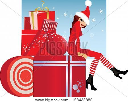 christmas fashion girl on box with gift in dress and hat