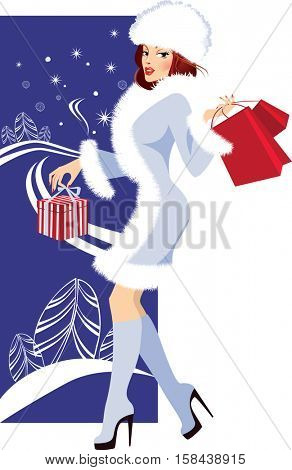 fashionable girl in winter background with gifts