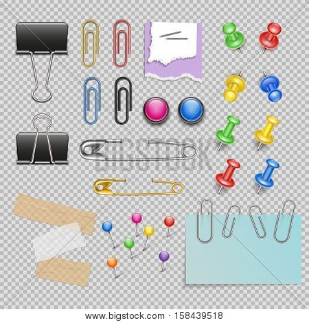 Office accessories set with pins and staples note paper and clips scotch and magnets isolated vector illustration