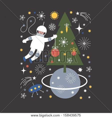 Cosmonaut in open space, vector Christmas card