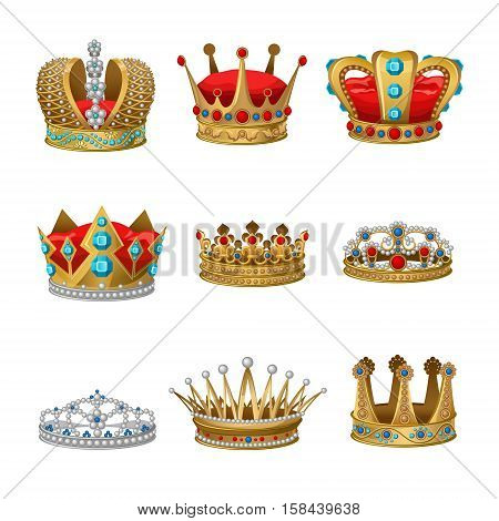 Crown icon set with isolated elements and accessories for princes kings and princesses vector illustration