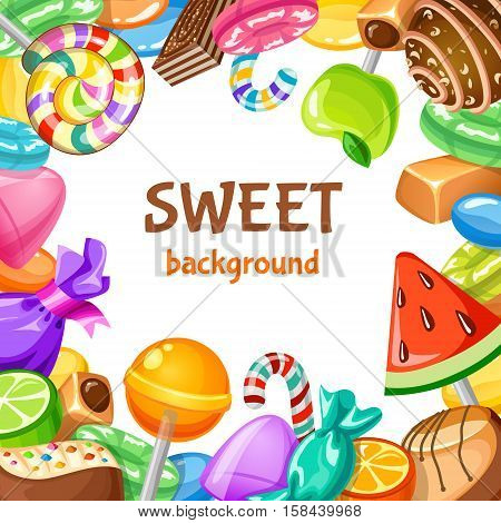 Colored sweet candy background with different types of desserts candies and lollypops vector illustration