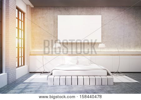 Master Bedroom With A Double Bed, A Poster And Two Lamps, Toned