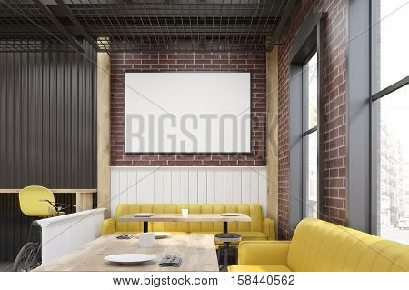 Diner Interior With Yellow Furniture