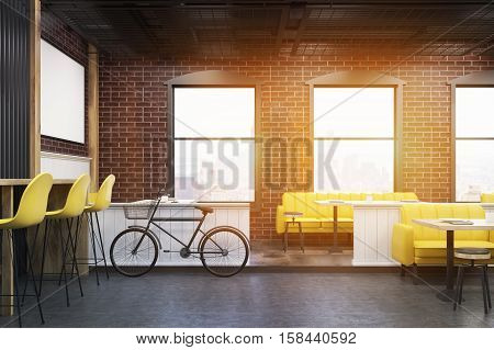 Cafe Interior With Brick Walls And A Bicycle, Toned
