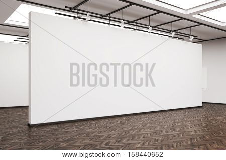 Side View Of A Large Blank Wall In An Art Gallery With Dark Wood Floor