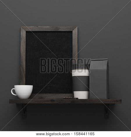 Porcelain cup paper cup and paper bag are standing on a narrow wooden shelf with black poster hanging on black wall. 3d rendering. Mockup