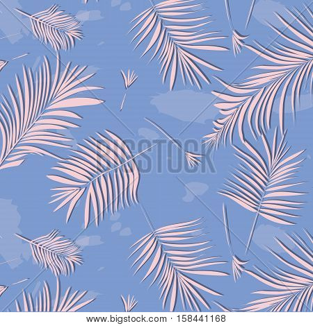 Vector summer exotic floral tropical palm leaf, banana in blue pink style. Modern pattern background. Plant flower nature wallpaper in rose quartz