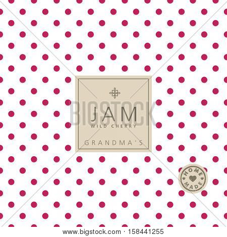 Jam label wild cherry. Swatch pattern included.