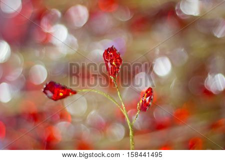 Bright Golden Red Cristals Background For Celebration Greeting Cards
