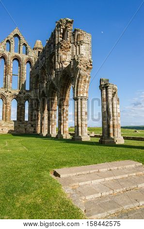 Whitby, UK - May 11, 2011: Whitby Abbey in North Yorkshire in UK. It is ruins of the Benedictine abbey. Now it is under protection of the English Heritage.