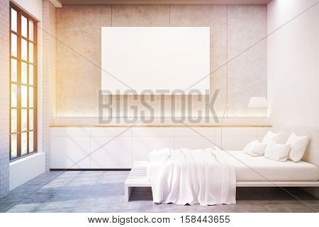 Side view of master bedroom in a modern house. There is a large double bed windows and two floor lamps. There is a large horizontal poster on the wall. 3d rendering. Mock up. Toned image