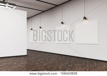 Side View Of An Art Gallery With A Blank Wall And Row Of Pictures