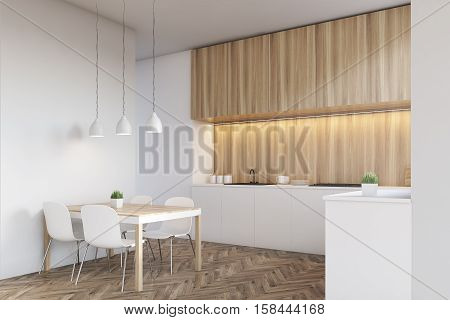 Side view of a kitchen interior with a long counter top and a dining table near a white wall. Wooden furniture. 3d rendering. Mock up.