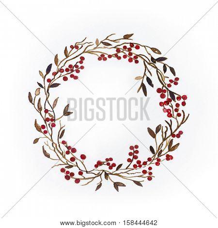 Watercolor Christmas Wreath ; hand drawn