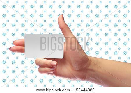 Right Female Hand Hold Blank White Card Mock-up. Sim Cellular Plastic Nfc Smart Tag Call-card Mock U