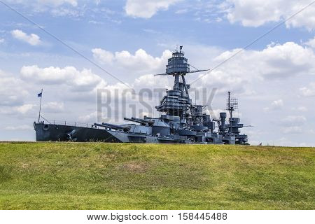 The Famous Dreadnought Battleship Texas with sky