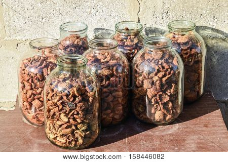 Dried Fruits In The Three-liter Jar. Dried Apples, Cut Into Slices