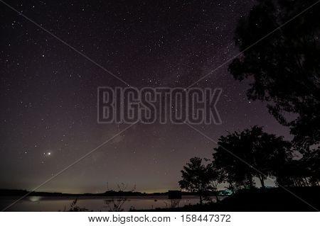 Milky Way galaxy over Kudat Sabah, Long exposure photograph, with grain