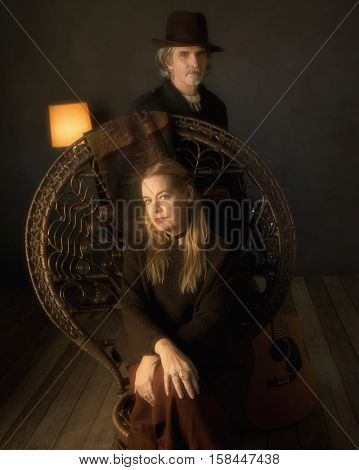 Vintage 1970S Musicians With Chair In Living Room.