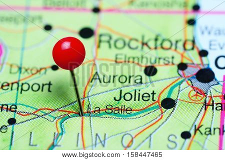 La Salle pinned on a map of Illinois, USA