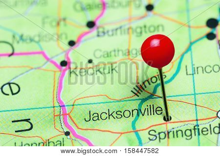 Jacksonville pinned on a map of Illinois, USA