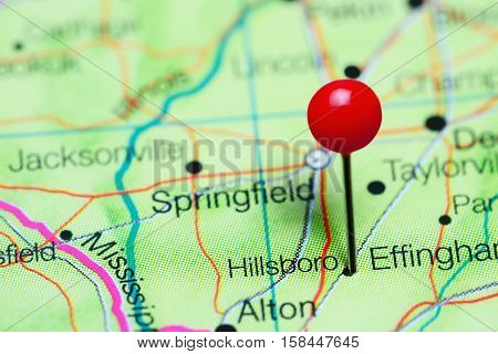 Hillsboro pinned on a map of Illinois, USA
