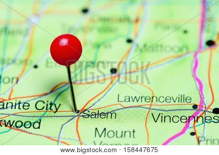 Salem pinned on a map of Illinois, USA
