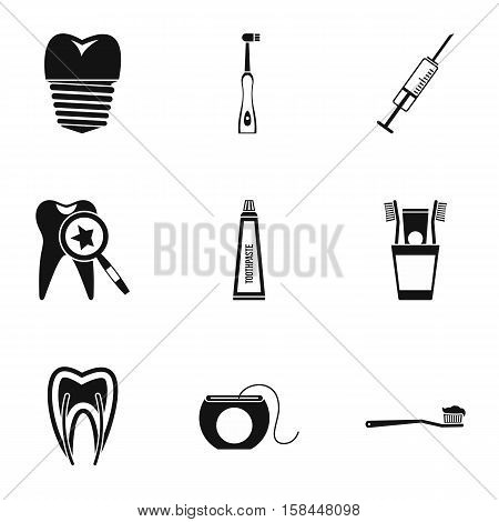 Teeth icons set. Simple illustration of 9 teeth vector icons for web