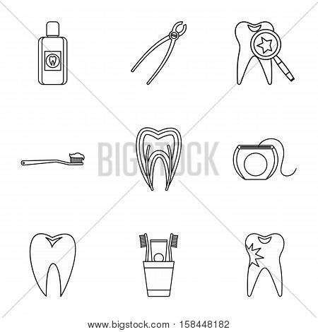 Dental treatment icons set. Outline illustration of 9 dental treatment vector icons for web