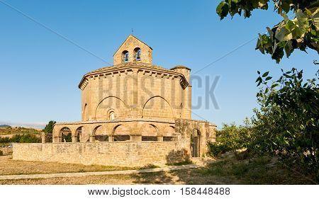 Santa María de Eunate is an ancient octagonal templar church on the Road to Santiago