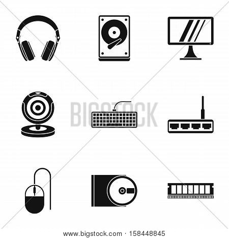 Computer data icons set. Simple illustration of 9 computer data vector icons for web
