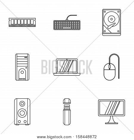 Computer icons set. Outline illustration of 9 computer vector icons for web
