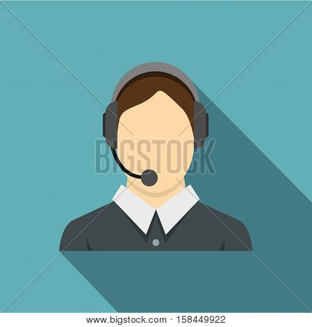 Call center operator icon. Flat illustration of call center operator vector icon for web isolated on baby blue background