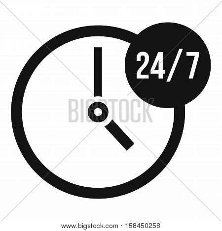Clock 24 7 icon. Simple illustration of clock 24 7 vector icon for web