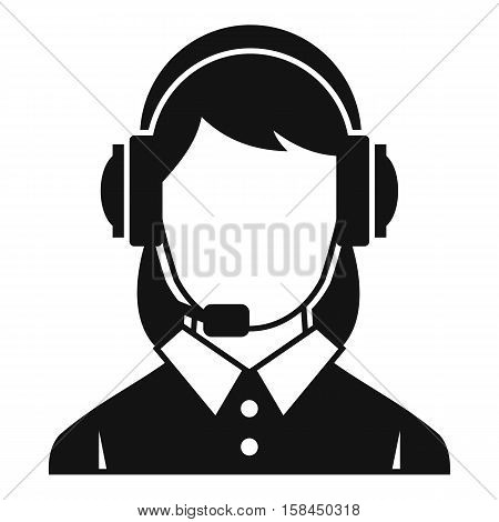 Business woman with headset icon. Simple illustration of business woman with headset vector icon for web