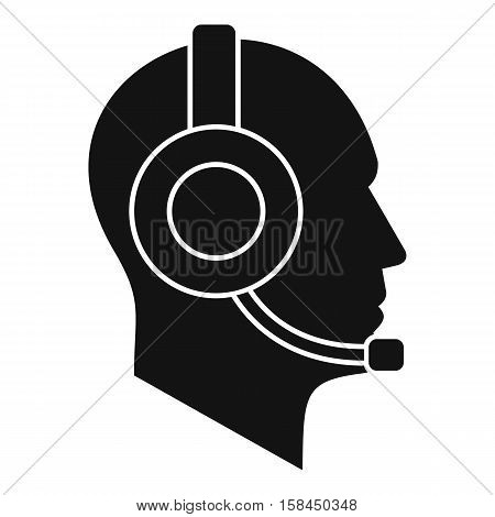 Operator in headset icon. Simple illustration of operator in headset vector icon for web