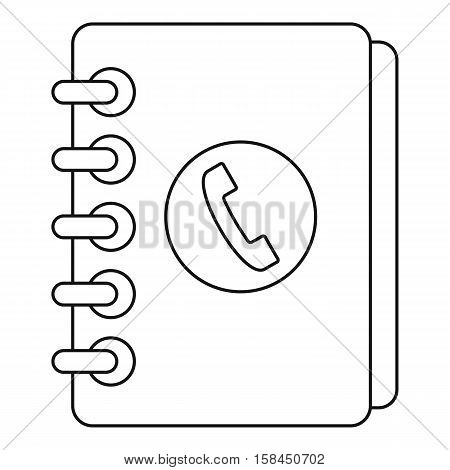 Phone book with handset icon. Outline illustration of phone book with handset vector icon for web
