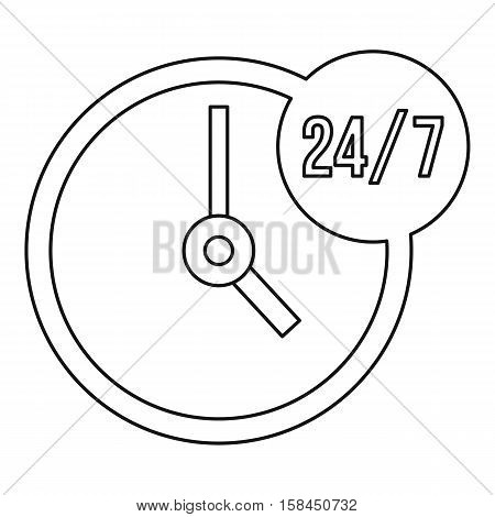 Customer service 24 7 icon. Outline illustration of Customer service 24 7 vector icon for web