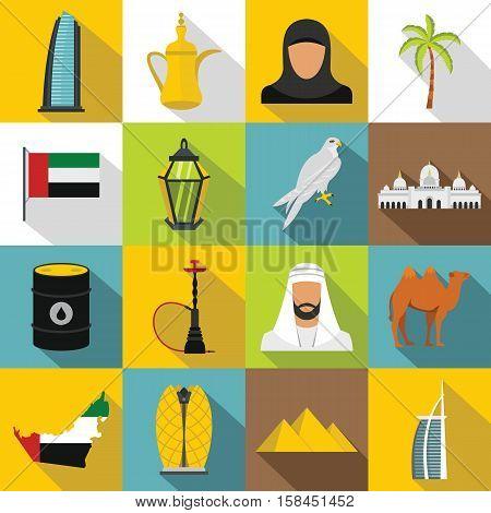 UAE travel icons set. Flat illustration of 16 UAE travel vector icons for web