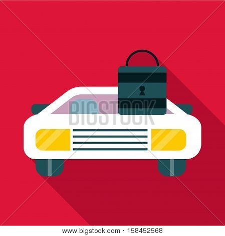Car and padlock icon. Flat illustration of car vector icon for web design