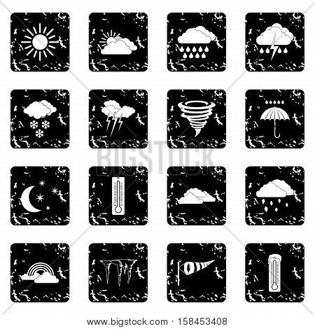 Weather set icons in grunge style isolated on white background. Vector illustration