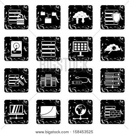 Database set icons in grunge style isolated on white background. Vector illustration